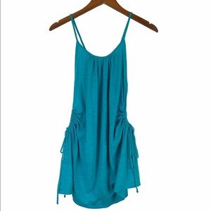 VS 🌵 Teal Blue Ruched Tie Tank M